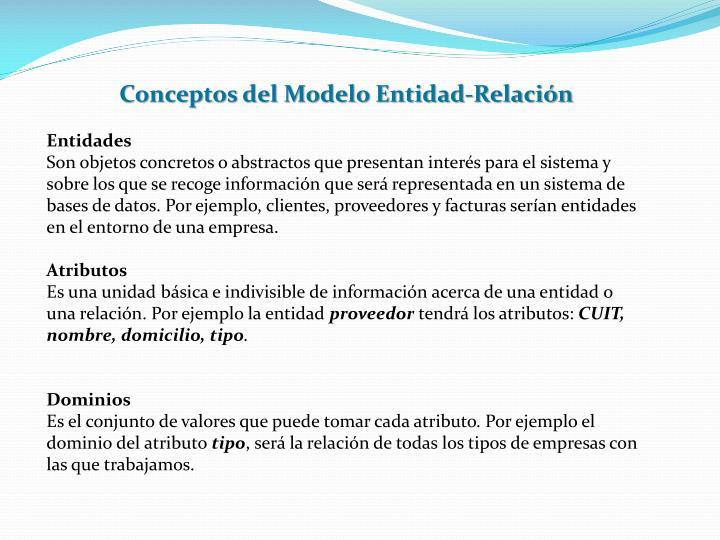 Conceptos del Modelo Entidad-Relación