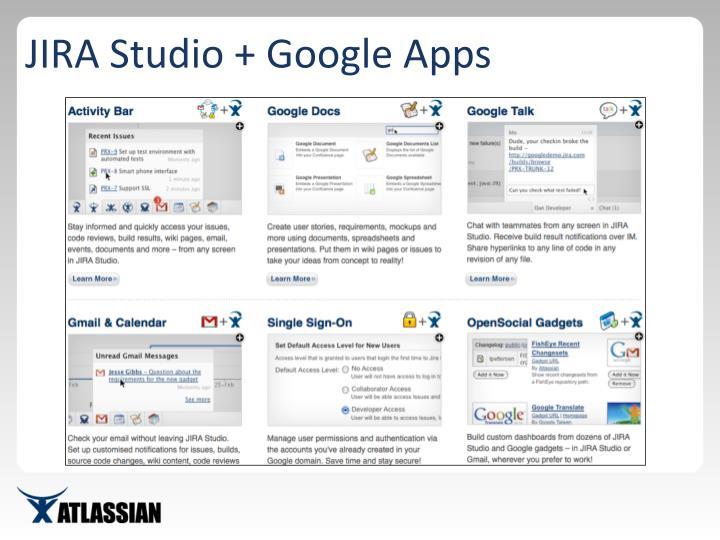 JIRA Studio + Google Apps