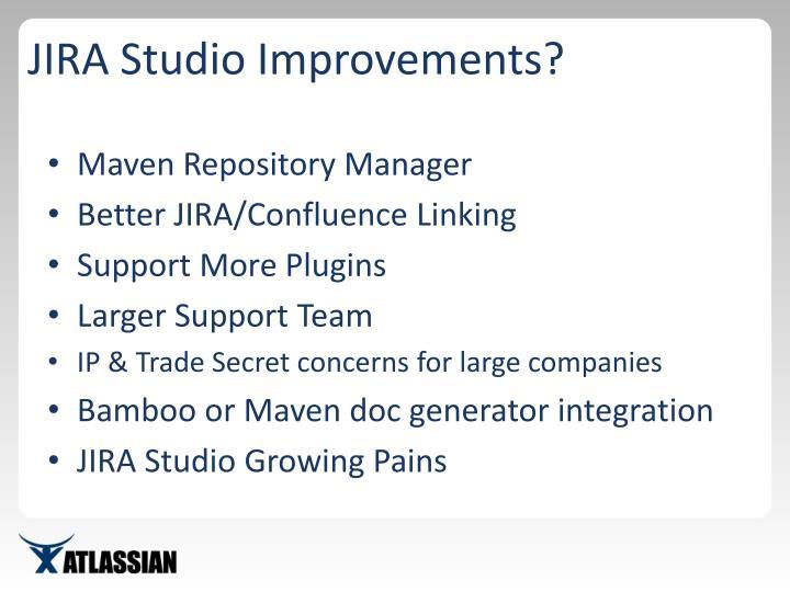 JIRA Studio Improvements?