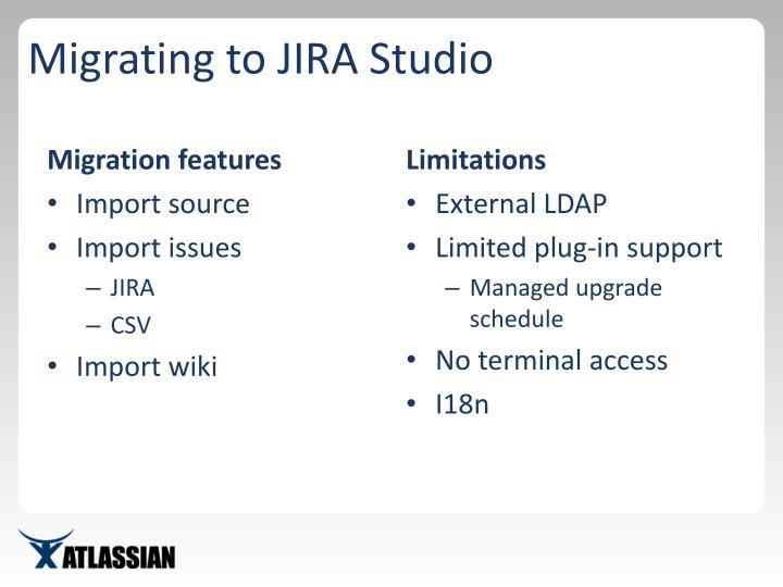 Migrating to JIRA Studio