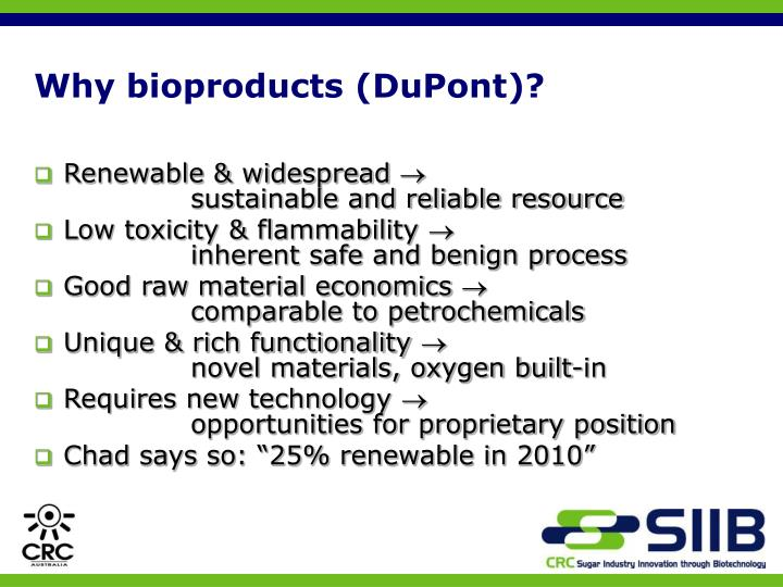 Why bioproducts (DuPont)?