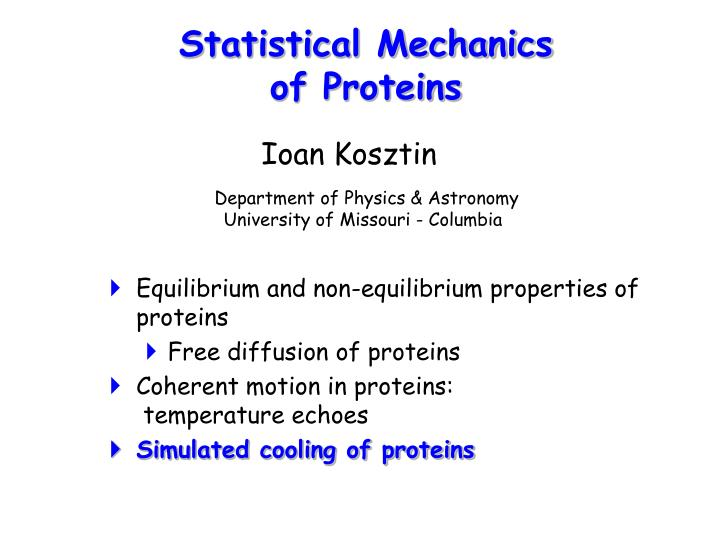Statistical mechanics of proteins