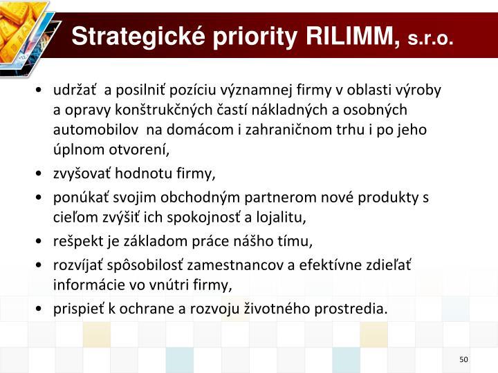 Strategické priority RILIMM,