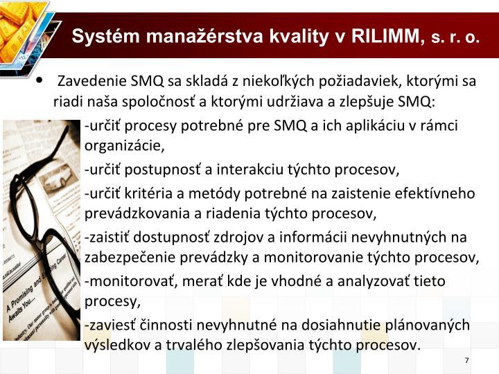 Systém manažérstva kvality v RILIMM,