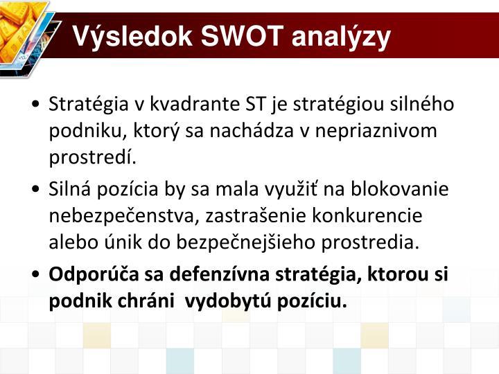 Výsledok SWOT analýzy