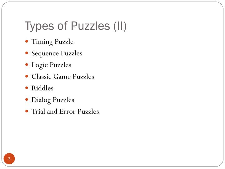 Types of puzzles ii