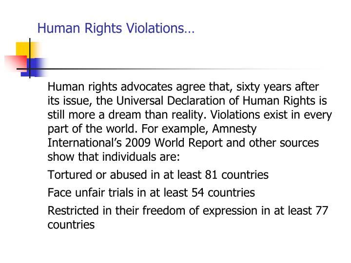 Human Rights Violations…