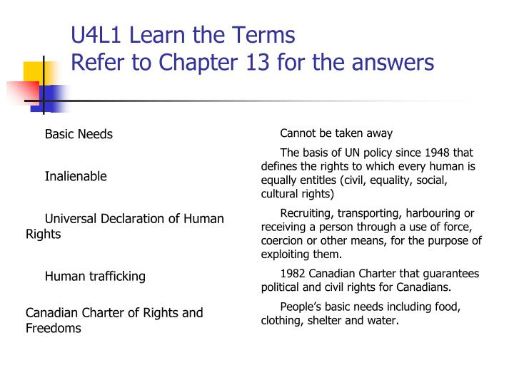 U4l1 learn the terms refer to chapter 13 for the answers
