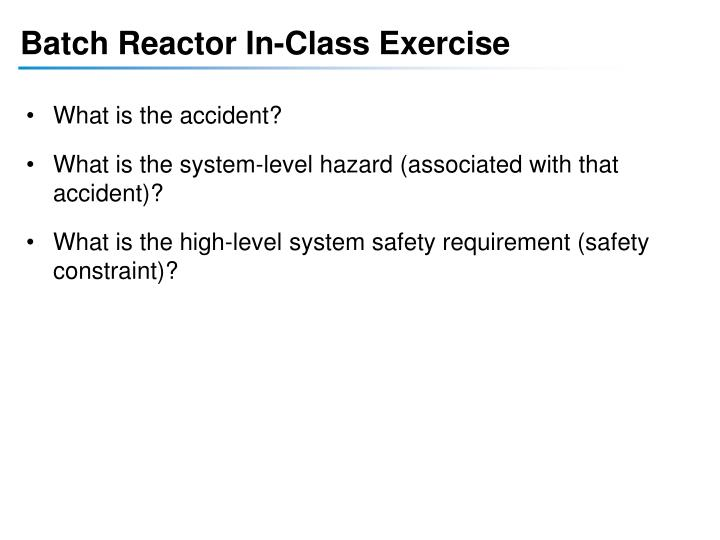 Batch Reactor In-Class Exercise