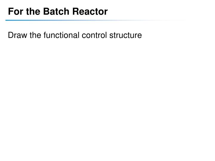 For the Batch Reactor
