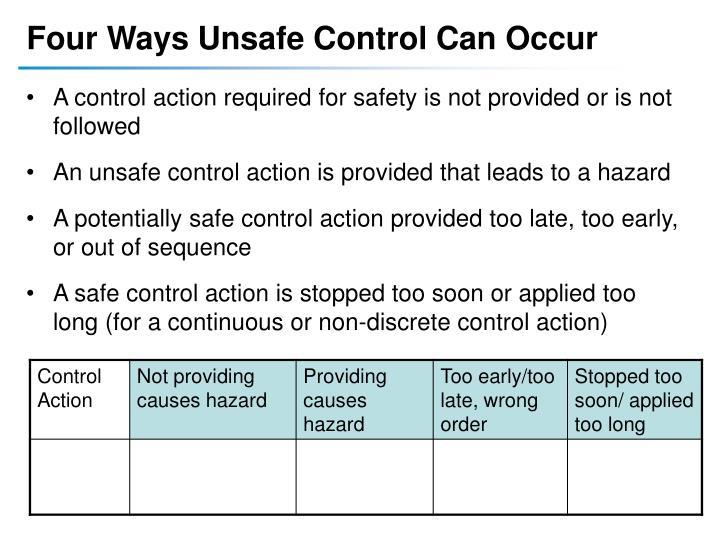 Four Ways Unsafe Control Can Occur