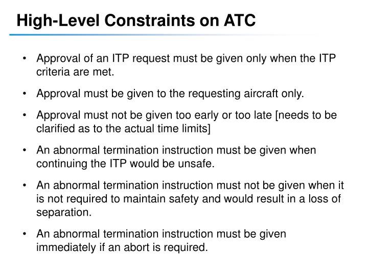 High-Level Constraints on ATC