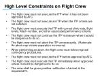 high level constraints on flight crew