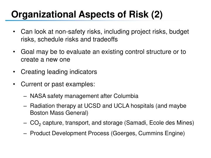 Organizational Aspects of Risk (2)