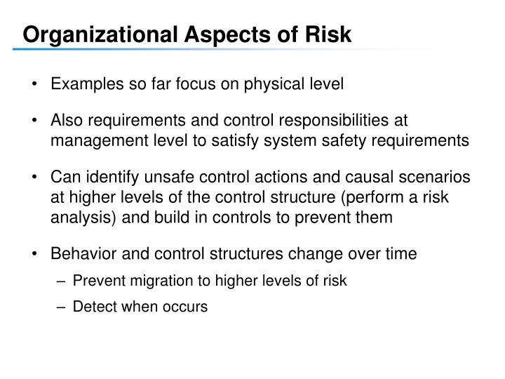 Organizational Aspects of Risk