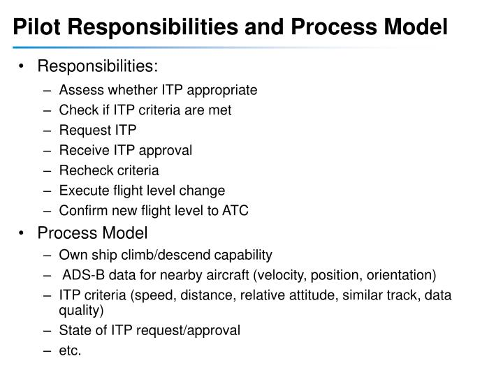 Pilot Responsibilities and Process Model