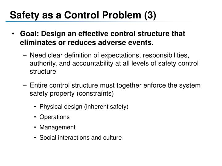 Safety as a Control Problem (3)