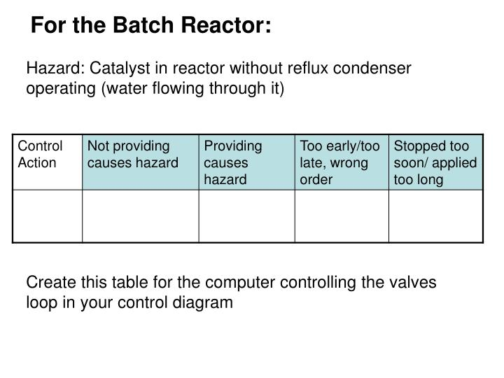For the Batch Reactor: