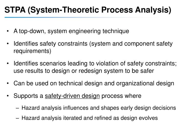 STPA (System-Theoretic Process Analysis)