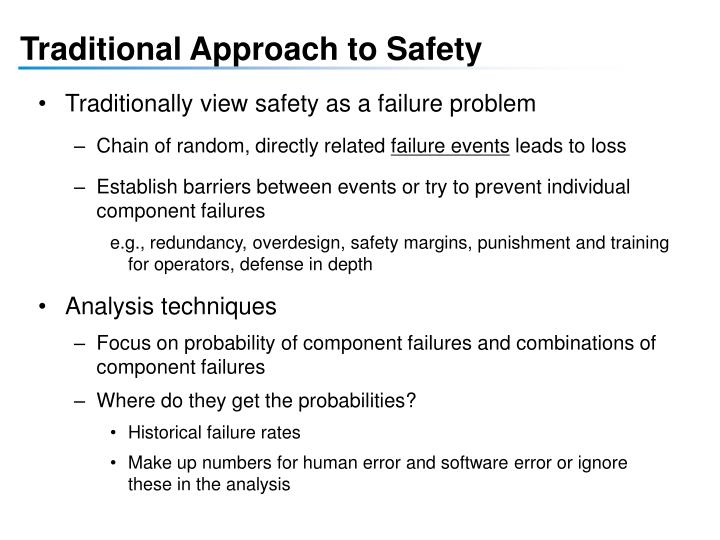 Traditional Approach to Safety