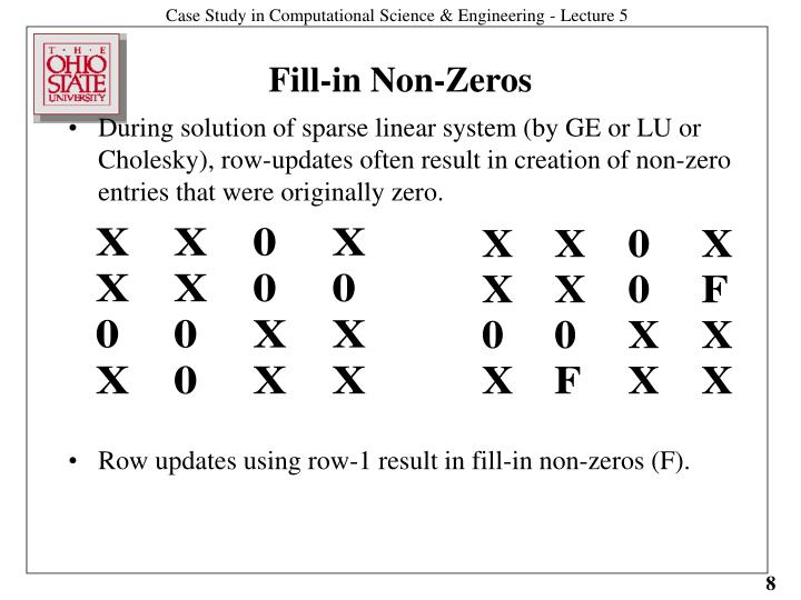 During solution of sparse linear system (by GE or LU or Cholesky), row-updates often result in creation of non-zero entries that were originally zero.