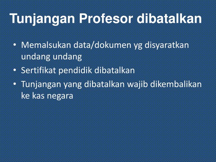 Tunjangan Profesor dibatalkan