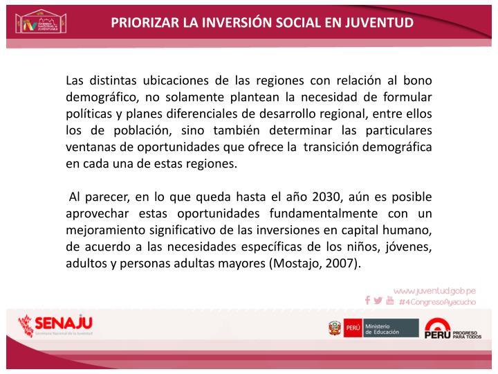 PRIORIZAR LA INVERSIÓN SOCIAL EN JUVENTUD