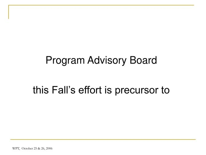 Program Advisory Board