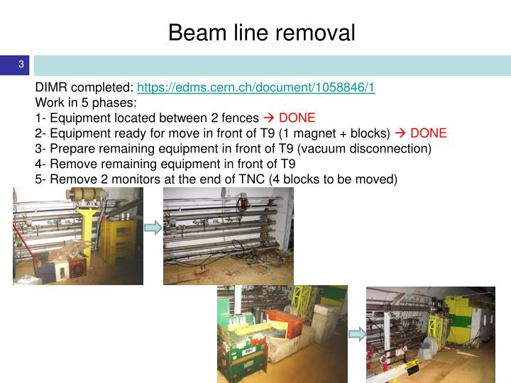 Beam line removal