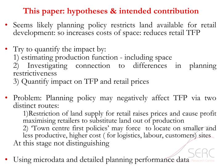 This paper: hypotheses & intended contribution