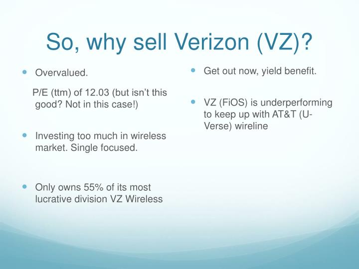 So, why sell Verizon (VZ)?