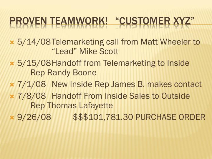 "5/14/08	Telemarketing call from Matt Wheeler to 		""Lead"" Mike Scott"