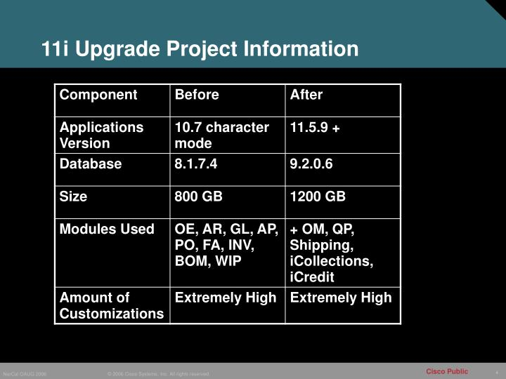 11i Upgrade Project Information