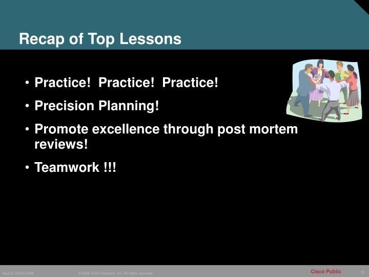 Recap of Top Lessons