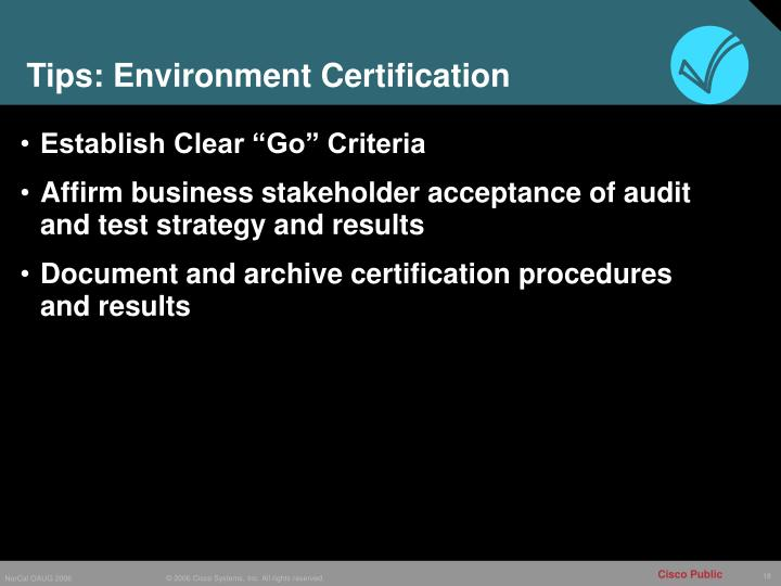 Tips: Environment Certification