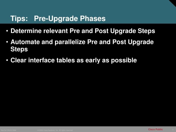 Tips:   Pre-Upgrade Phases