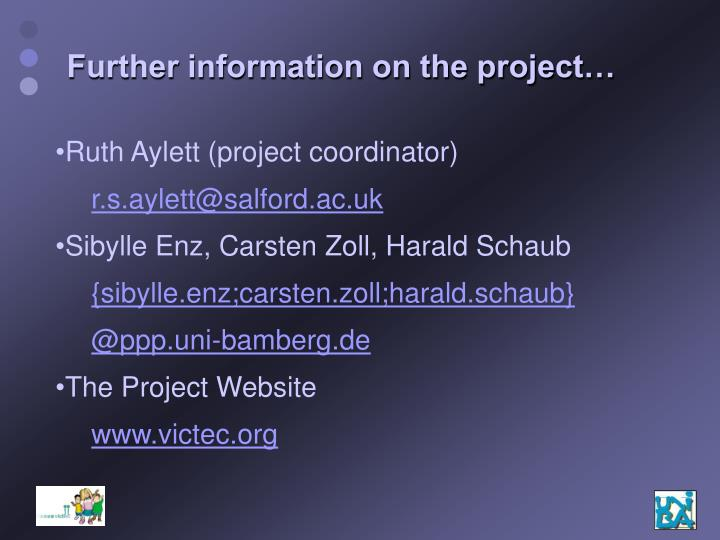 Further information on the project…