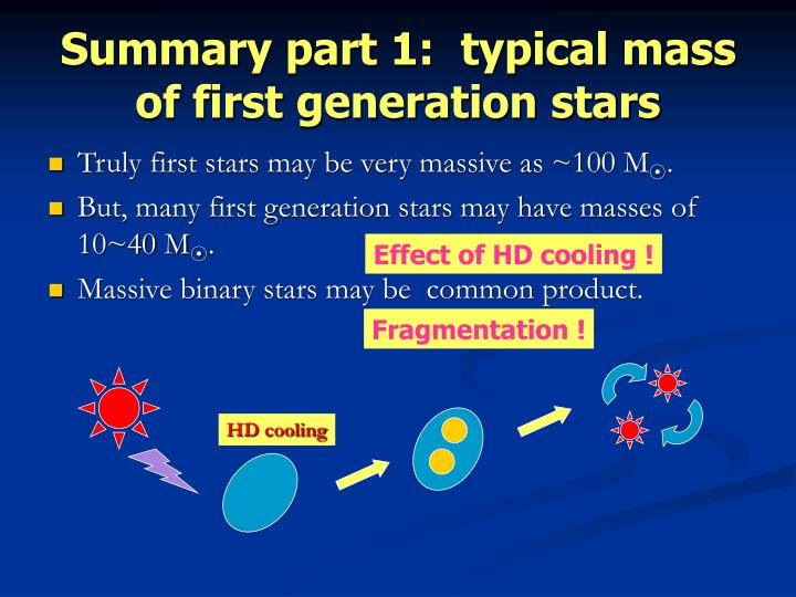 Summary part 1:  typical mass of first generation stars