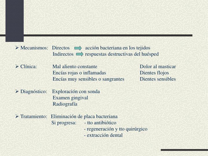 Mecanismos:   Directos            acción bacteriana en los tejidos