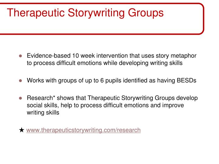 Therapeutic storywriting groups