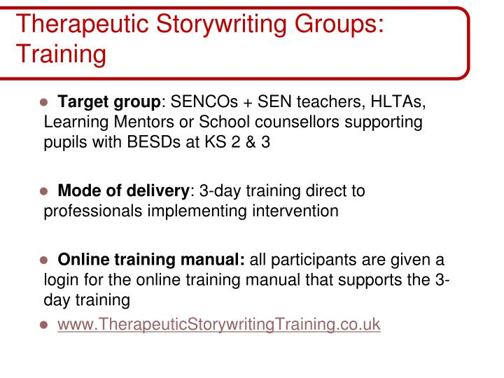 Therapeutic Storywriting Groups: Training