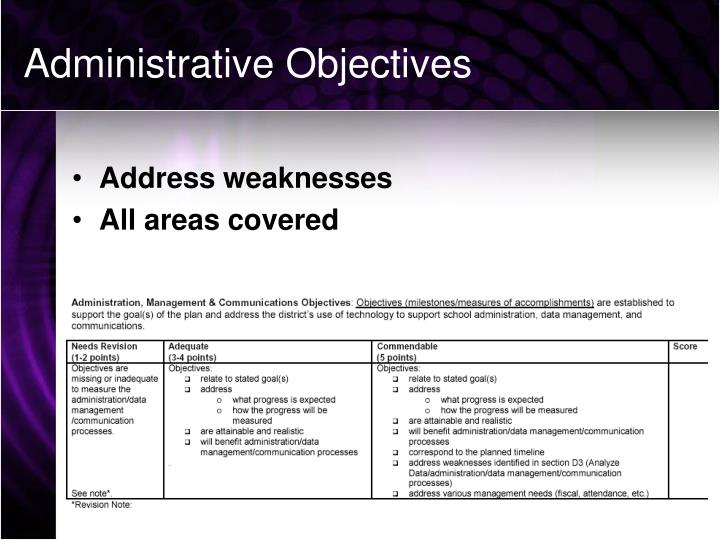 Administrative Objectives