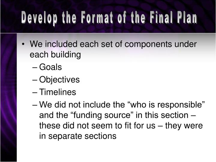 Develop the Format of the Final Plan