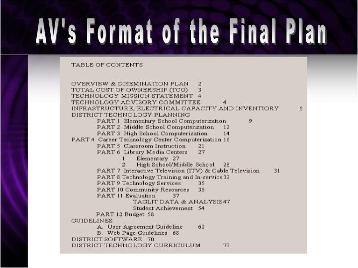 AV's Format of the Final Plan