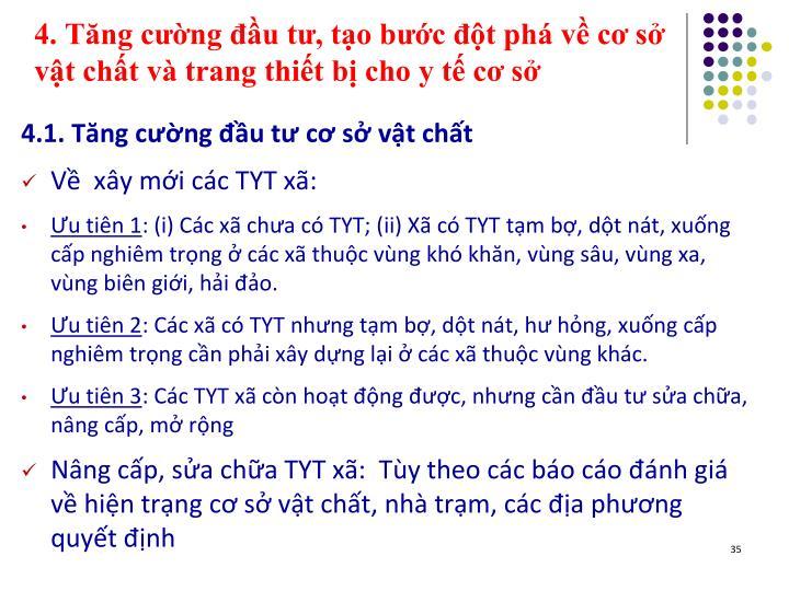 4. Tng cng u t, to bc t ph v c s vt cht v trang thit b cho y t c s