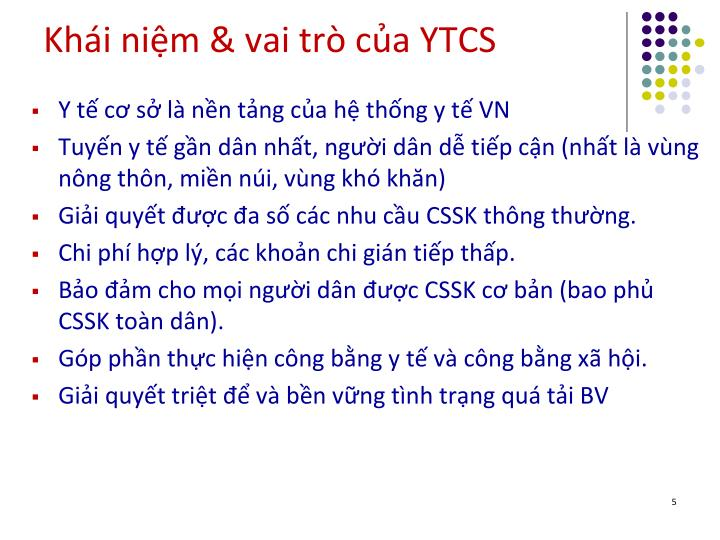 Khi nim & vai tr ca YTCS
