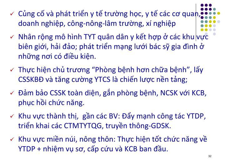Cng c v pht trin y t trng hc, y t cc c quan, doanh nghip, cng-nng-lm trng, x nghip