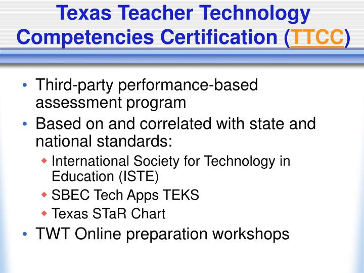 Texas Teacher Technology Competencies Certification (