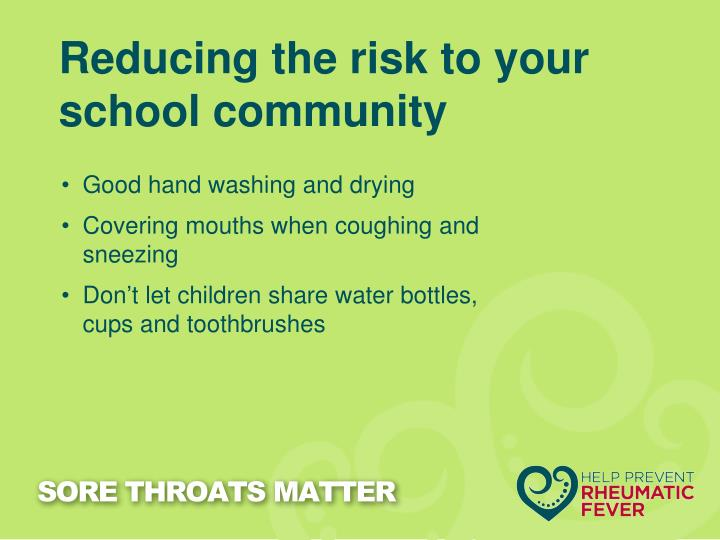 Reducing the risk to your school community