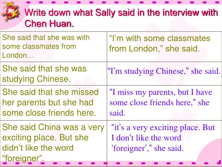 Write down what Sally said in the interview with Chen Huan.